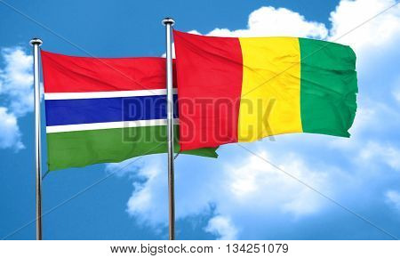 Gambia flag with Guinea flag, 3D rendering
