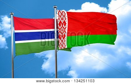 Gambia flag with Belarus flag, 3D rendering