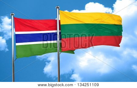 Gambia flag with Lithuania flag, 3D rendering
