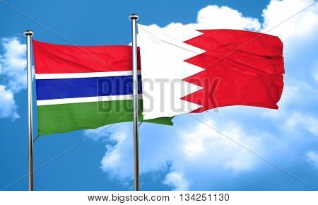 Gambia flag with Bahrain flag, 3D rendering