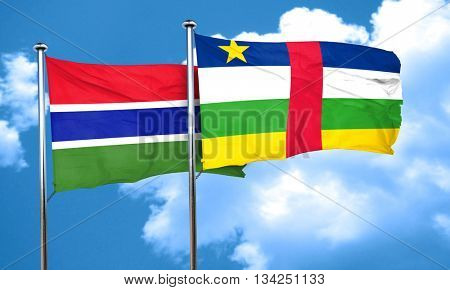 Gambia flag with Central African Republic flag, 3D rendering