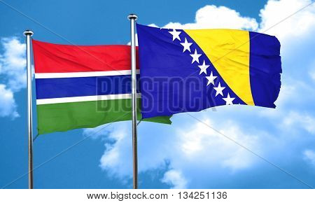 Gambia flag with Bosnia and Herzegovina flag, 3D rendering