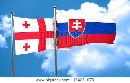 Georgia flag with Slovakia flag, 3D rendering
