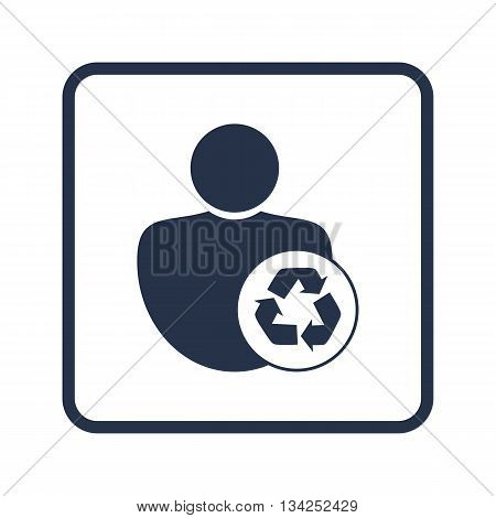 Recycle Icon In Vector Format. Premium Quality Recycle Symbol. Web Graphic Recycle Sign On Blue Roun