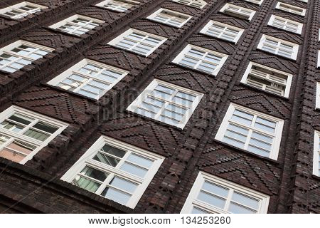 Windows of old house in Amsterdam, Netherlands