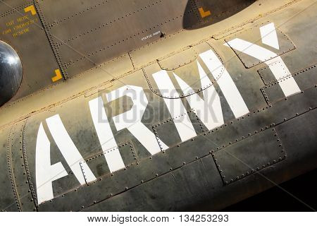 Army marking on the side of helicopter
