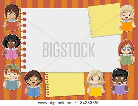 Card with cartoon student children reading books. Students.