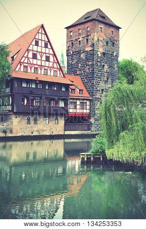 Henkerturm tower in Nuremberg, Germany. Instagram style filtered image