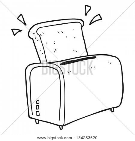 freehand drawn black and white cartoon toaster