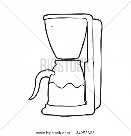 freehand drawn black and white cartoon coffee maker