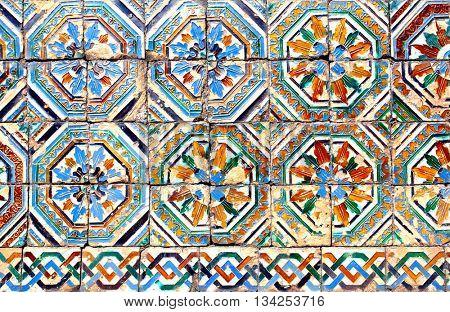 Moorish ceramic tiles (circa 14th century), Andalusia, Spain