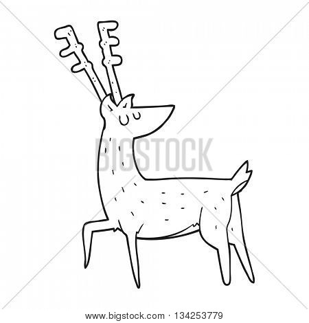 freehand drawn black and white cartoon stag
