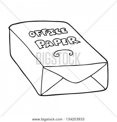 freehand drawn black and white cartoon office paper