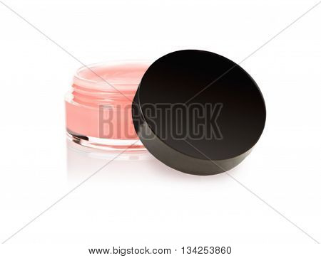 lip gloss in the jar with cover, on white
