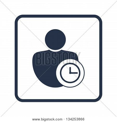 User Time Icon In Vector Format. Premium Quality User Time Symbol. Web Graphic User Time Sign On Blu