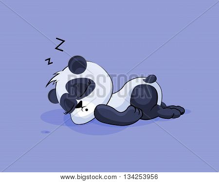 Vector Stock Illustration isolated Emoji character cartoon Panda sleeps on the stomach sticker emoticon for site, info graphic, video, animation, websites, e-mails, newsletters, reports, comics