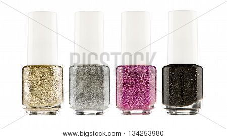 Set of colorful pearl nail polish isolated on white