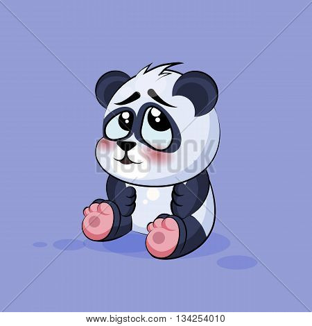 Vector Stock Illustration isolated Emoji character cartoon Panda embarrassed, shy and blushes sticker emoticon for site, info graphic, video, animation, websites, e-mails, newsletters, reports, comics