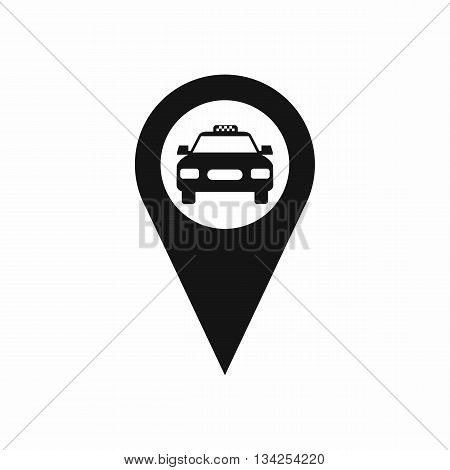 Geo taxi icon in simple style isolated on white background