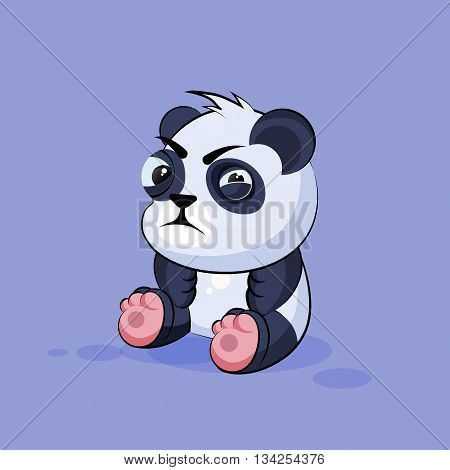 Vector Stock Illustration isolated Emoji character cartoon Panda squints and looks suspiciously sticker emoticon for site, info graphic, video, animation, websites, e-mails, newsletters, reports, comics