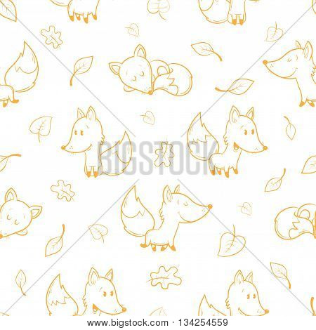 Seamless pattern with cute cartoon foxes and falling leaves on  white  background. Autumn season. Funny forest animals. Vector image. Children's illustration.