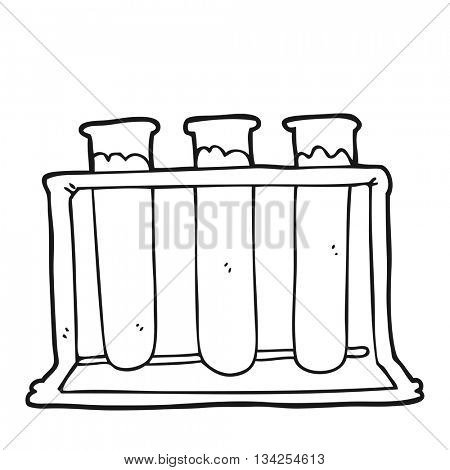 freehand drawn black and white cartoon rack of test tubes