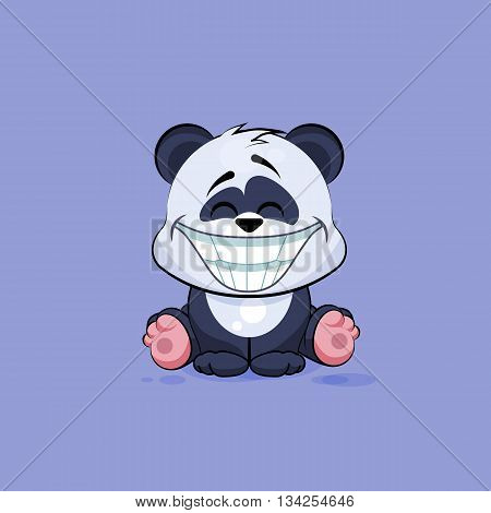 Vector Stock Illustration isolated Emoji character cartoon Panda with a huge smile from ear to ear sticker emoticon for site, info graphic, video, animation, website, e-mail, newsletter, reports, comics