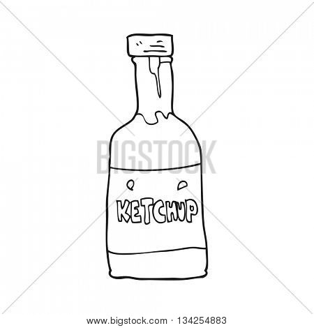 freehand drawn black and white cartoon ketchup