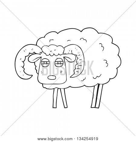 freehand drawn black and white cartoon ram