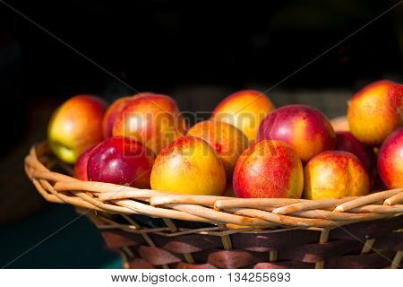 Nectarines In Wooden Basket Nuts