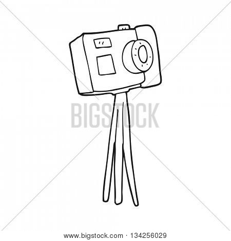 freehand drawn black and white cartoon camera on tripod