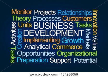 Business Development Word Cloud on Blue Background