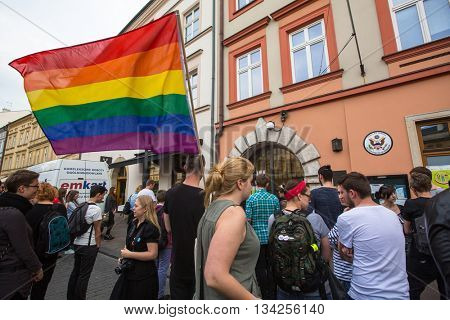KRAKOW, POLAND - JUNE 13, 2016: Action near American Consulate in memory of victims of the massacre in popular gay club Pulse in Orlando, Florida. 50 people were killed, 53 wounded.