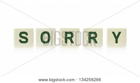 Three Blank Plastic Tile Pieces For Text In A Row, Isolated On A White Background