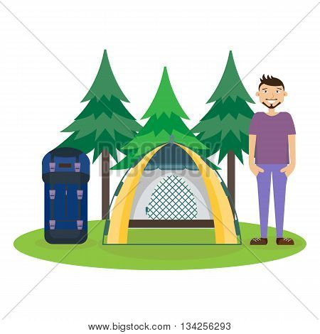 Travel hiking concept. Forest holidays composition. Man standing near tent. Camping. Forest rest. Vector illustration. Flat cartoon style