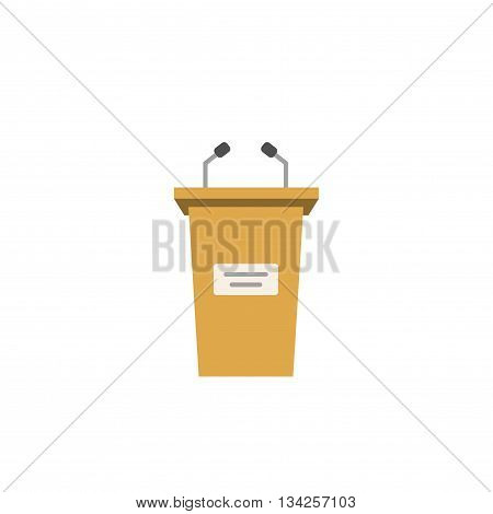 Tribune vector icon isolated on white background, flat cartoon podium illustration