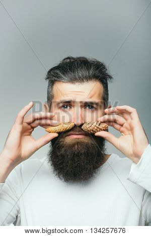 Bearded Man With Pinecone Moustache