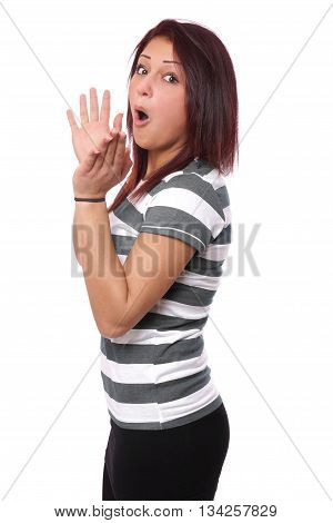 excited young woman clapping hands isolated on white