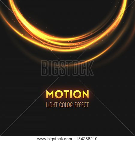 The rings of light with sparkling lines. Bokeh particles on the swirling circles. Motion element on dark background glowing light. Shiny neon color dodge effect. Vector illustration.