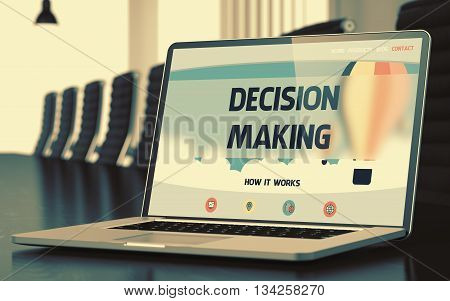 Decision Making Concept. Closeup Landing Page on Mobile Computer Screen on Background of Conference Hall in Modern Office. Toned Image. Blurred Background. 3D Rendering.