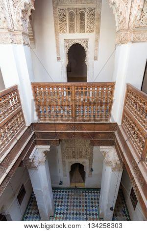 MARRAKECH MOROCCO - APR 29 2016: Interior of the Ali Ben Youssef Madrassa in Marrakech Morocco