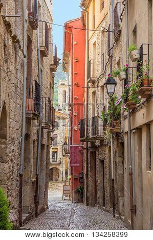 Street in the medieval village Besalu Catalonia Spain