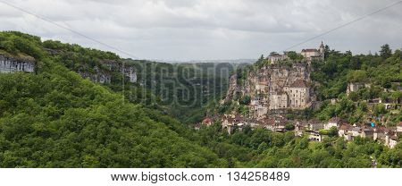 Rocamadour a village in southwestern France. The sanctuary here has attracted pilgrims from many countries for centuries.