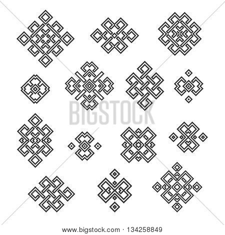 Set collection of the endless knot or eternal knot designs. Black sign in different variatons isolated on white background. Vector illustration.