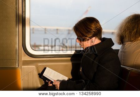 Girl Reading A Book In The New York Subway Wagon