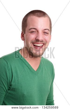 happy young man with goatee beard isolated on white