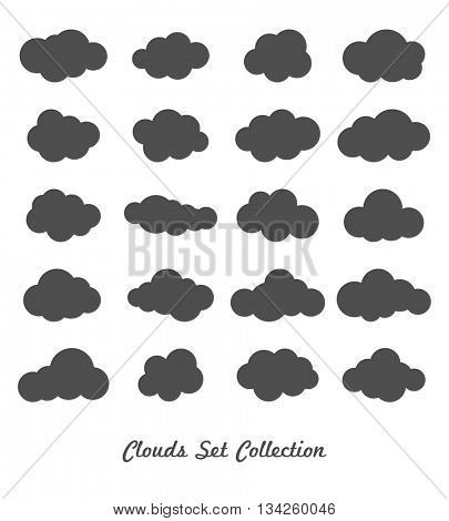 Clouds silhouettes. Vector set of clouds shapes.