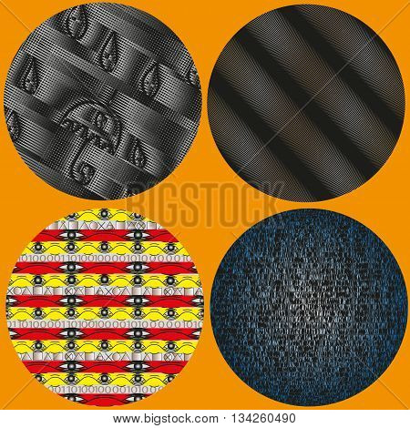Set of four decorative circle with ornament Illustration vector set of four decorative ornament and a circle with a texture on an orange background for decoration and design