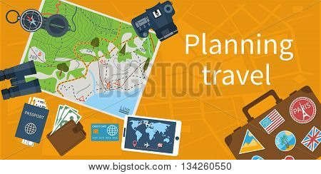 Travel planning concept. Trip plan. Planning vacation search place for holiday. Vector illustration flat design style. Travel on world banner. Summer vacation holidays.