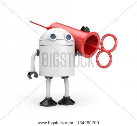 Robot doctor with syringe (retro style). 3d illustration